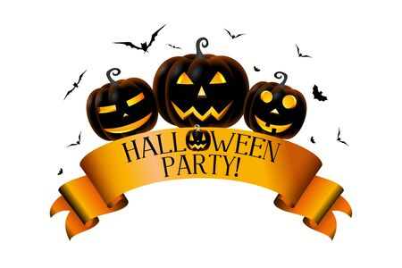 Halloween party concept with a ribbon, pumpkins (Jack o Lanterns)