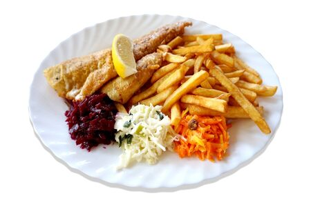 Fried fish - zander sander pikeperch, salad and french fries on plate