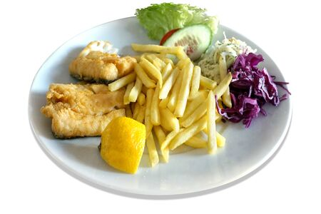 Fried fish - cod, salad and french fries on plate Imagens