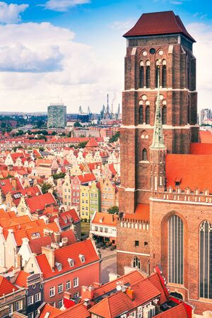 St. Marys Cathedral, Old Town in Gdansk, Poland Imagens