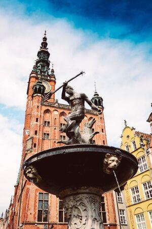 Neptunes Fountain, Town Hall, Gdansk, Poland Stockfoto