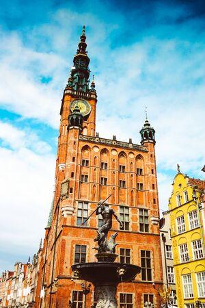 Neptunus-fontein, stadhuis, Gdansk, Polen Stockfoto