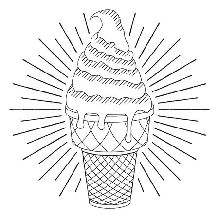 Ice cream - black and white illustration drawing