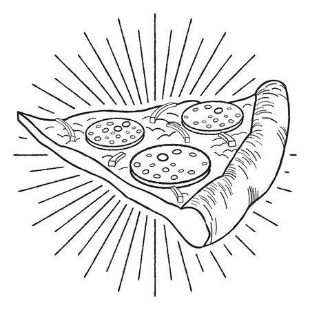 Pizza (pepperoni, onion) - black and white illustration drawing