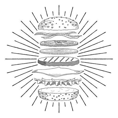 Hamburger Cheeseburger - black and white illustration drawing