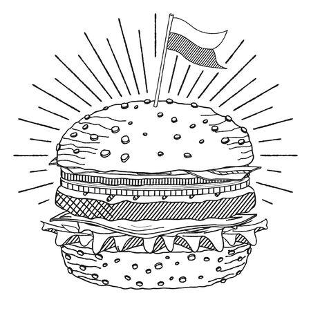 Hamburger Cheeseburger with a flag - black and white illustration drawing