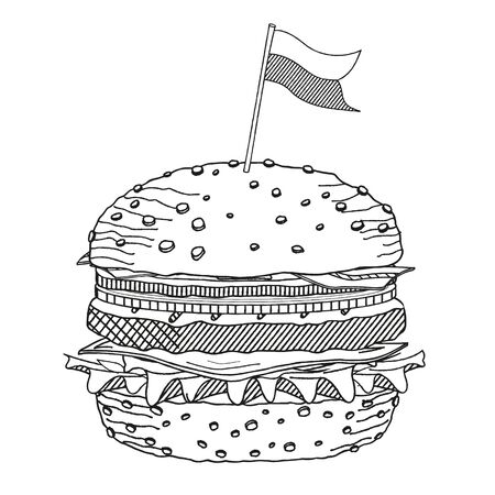 Hamburguesa / hamburguesa con queso con una bandera - ilustración / dibujo en blanco y negro Ilustración de vector