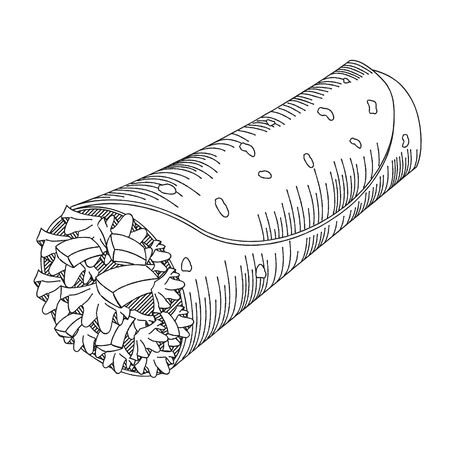 Tortilla wrap - black and white illustration/ drawing