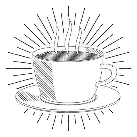 Coffee cup tea cup - black and white illustration drawing Ilustração
