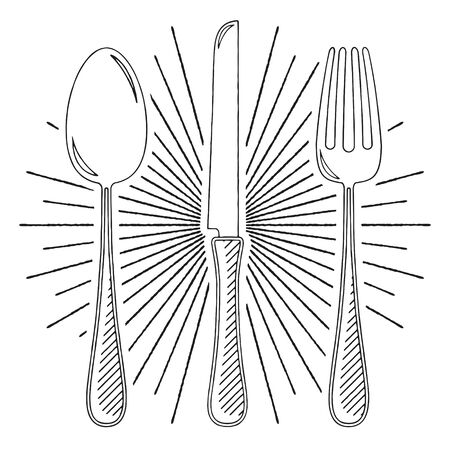 Fork, knife, spoon - black and white illustration drawing