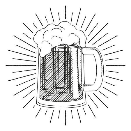 Pint of beer - black and white illustration drawing Ilustração