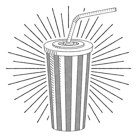Cola soda with a straw - black and white illustration drawing