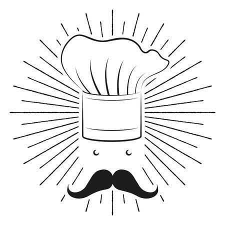 Cook Chef hat, moustache - black and white illustration drawing Ilustração