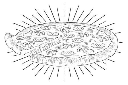 Pizza (ham, mushroom) - black and white illustration drawing Ilustração