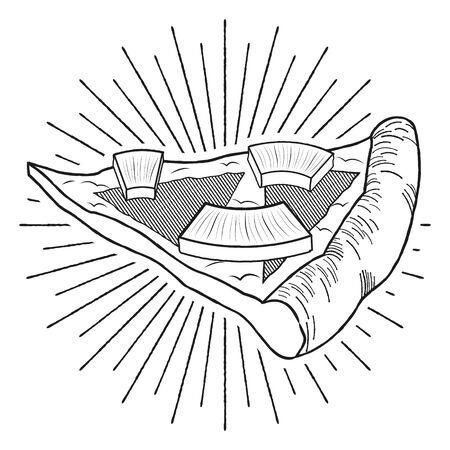 Hawaiian pizza (pineapple, ham) - black and white illustration drawing
