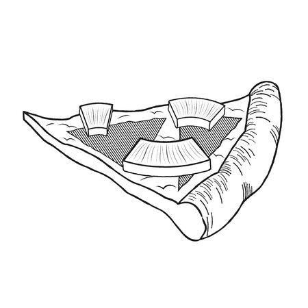 Hawaiian pizza (pineapple, ham) - black and white illustration/ drawing