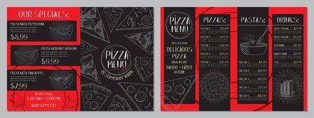 Pizza restaurant menu - A4 card (pepperoni, mushroom, hawaiian, pasta, drinks)
