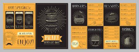 Burger bar menu template - A4 card (burgers, french fries, desserts, drinks)