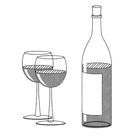 Bottle of wine and two glasses - black and white illustration drawing