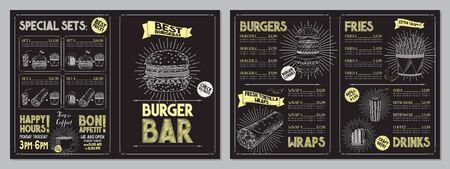 Burger bar menu template - A4 card (burgers, wraps, french fries, drinks, sets)