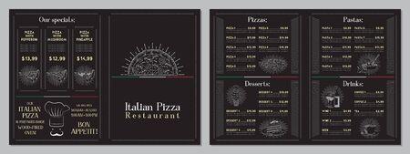 Italian Pizza restaurant menu - A4 card (pizzas, pastas, desserts, drinks)