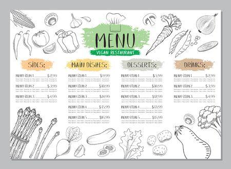 Vegane Restaurant-Menüvorlage - A4-Karte (Gemüsezeichnungen)