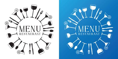Restaurant drink bar menu vector logo template