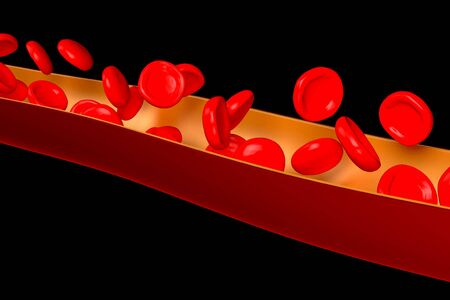 3D vein, red blood cells - isolated on black background
