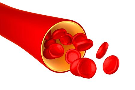 3D vein, red blood cells - isolated on white background Imagens