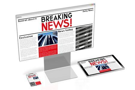 Concepto de noticias 3D - computadora, teléfono inteligente, tableta, teléfono móvil