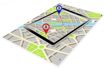 3D tablet, map - route or distance concept Stok Fotoğraf
