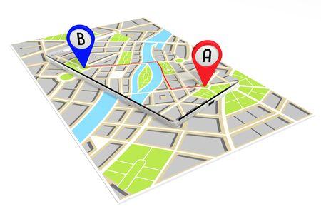 3D smartphone, map - route or distance concept Stok Fotoğraf