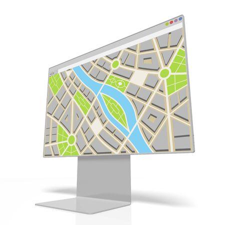 3D computer monitor, map concept Фото со стока