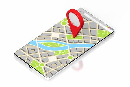 3D smartphone, map - location concept