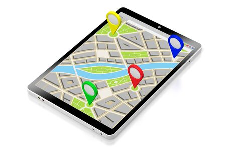 3D tablet, map - destinations concept