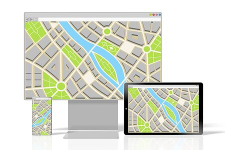 3D monitor, smartphone and tablet - map concept Фото со стока