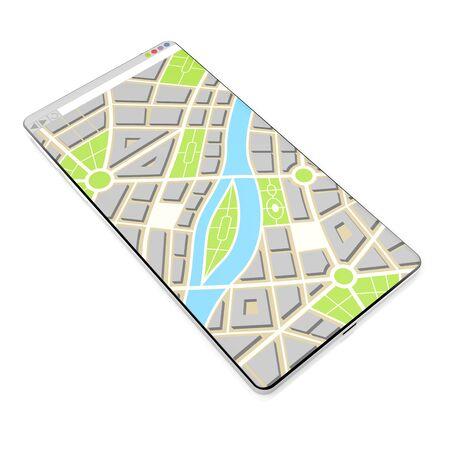 3D smartphone, map concept