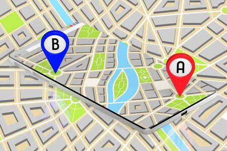 3D smartphone, map - route distance concept Stok Fotoğraf