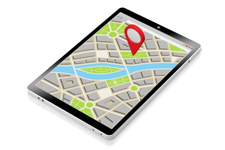 3D tablet, map - location concept