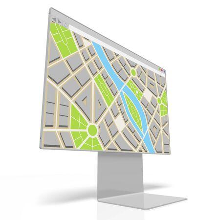 3D computer monitor, map concept Stok Fotoğraf
