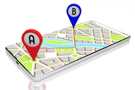 3D smartphone, map - route distance concept Фото со стока
