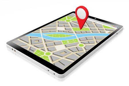 Tableta 3D, mapa - concepto de ubicación Foto de archivo
