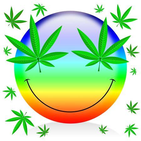 Happy rainbow marijuana emoticon - colorful cartoon illustration Stock Illustration - 131492657