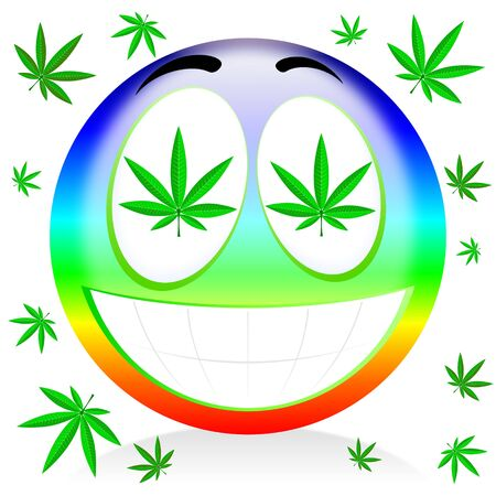 Happy rainbow marijuana emoticon - colorful cartoon illustration 版權商用圖片