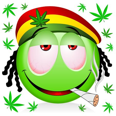 Reggae rastaman green emoji smoking marijuana - cartoon illustration