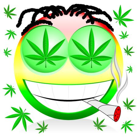 Emoji smoking marijuana - colorful cartoon illustration Zdjęcie Seryjne