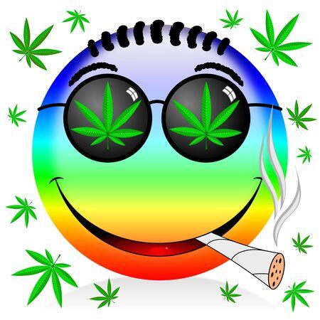 Emoji smoking marijuana - colorful cartoon illustration Stock Photo