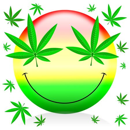 Happy marijuana emoticon - cartoon illustration