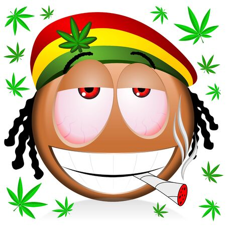 Reggae rastaman black emoji smoking marijuana - cartoon illustration 스톡 콘텐츠