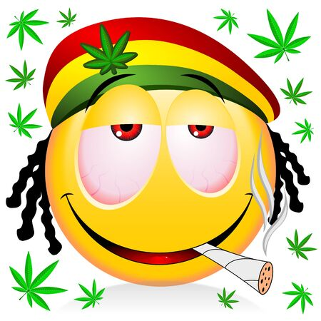 Reggae rastaman yellow emoji smoking marijuana - cartoon illustration Zdjęcie Seryjne